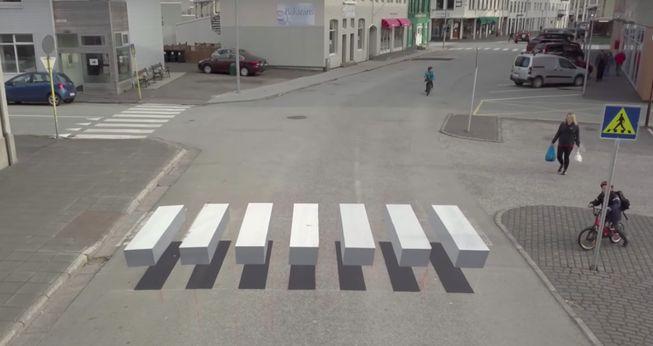 A 3-D painted zebra crosswalk in Ísafjörður, Iceland